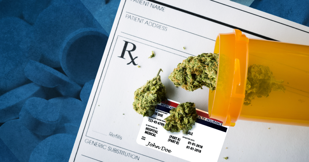 marijuana on prescription pad with pills in blue background