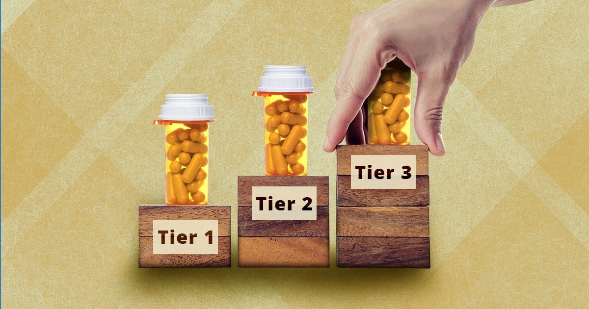 step therapy: how it could affect Medicare Advantage; three tiers of drugs with a hand reaching to tier three