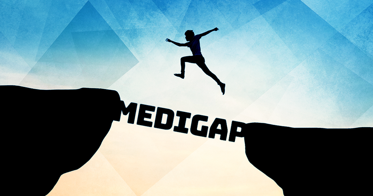 medigap plans, medigap, medicare, man jumping across gap