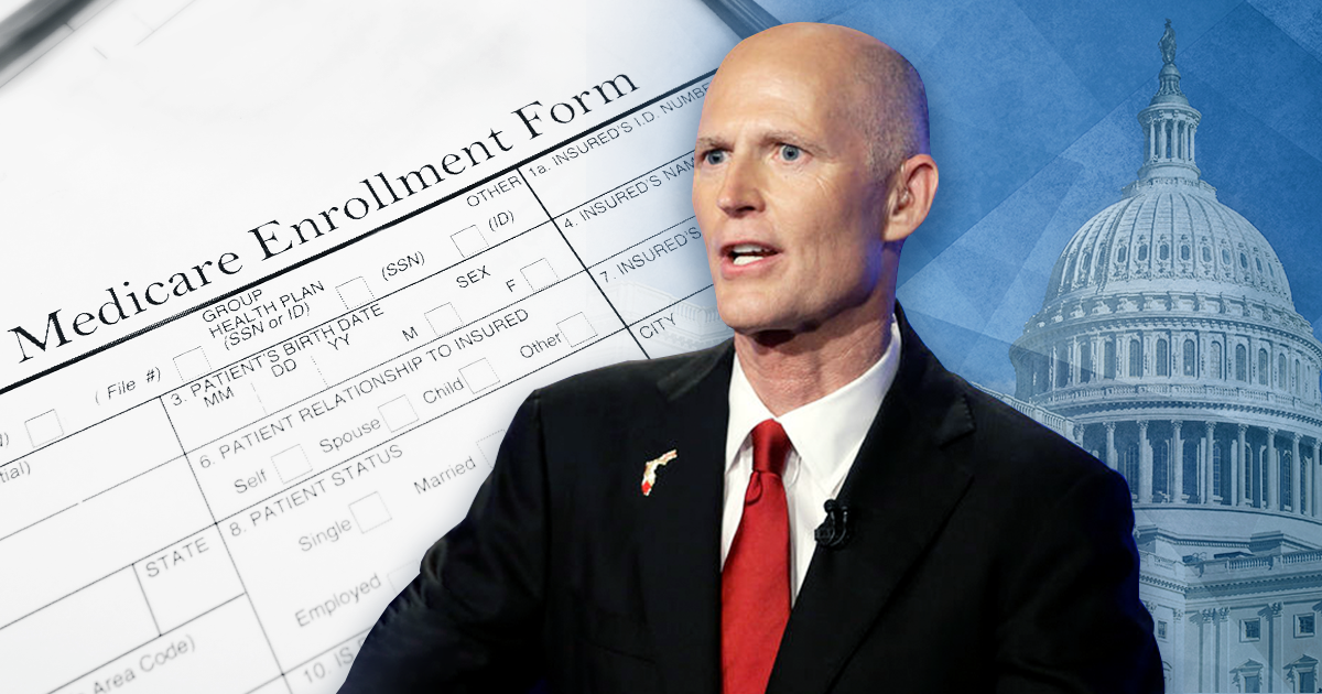 rick scott in front of paperwork and capitol building; rick scott medicare fraud
