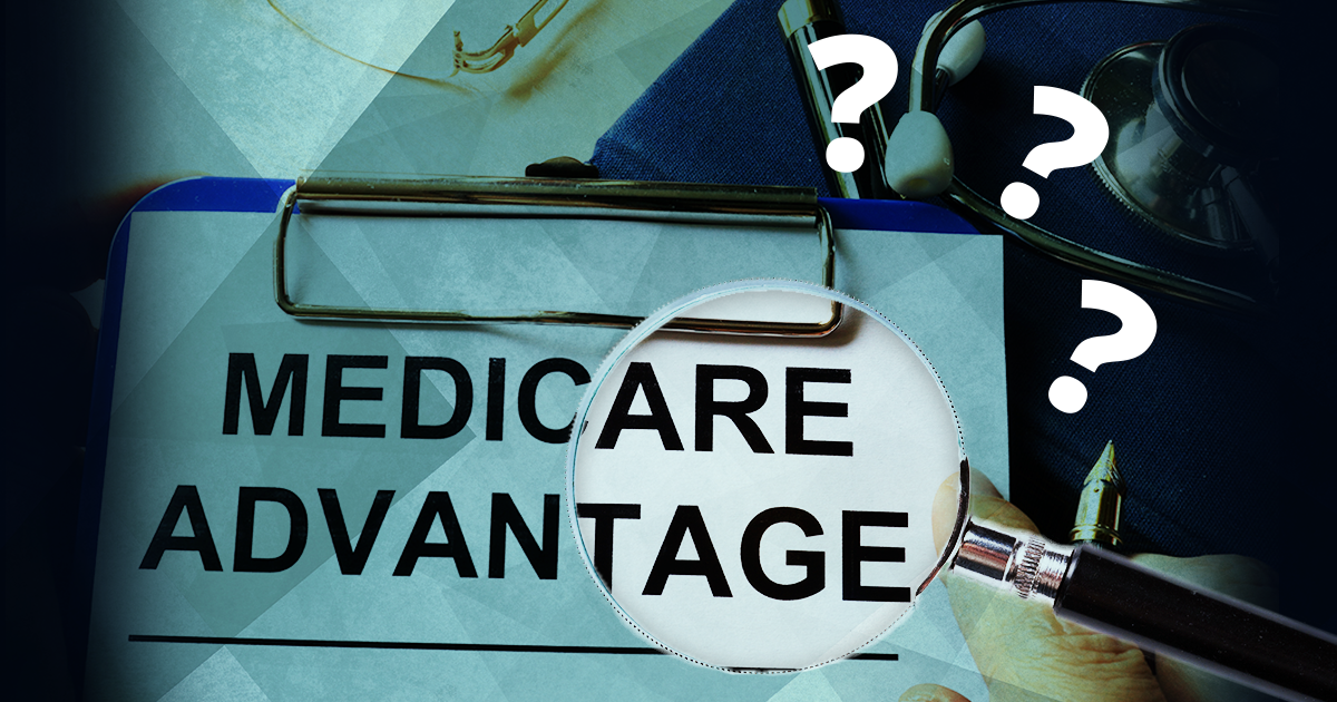 clipboard with Medicare Advantage and question marks