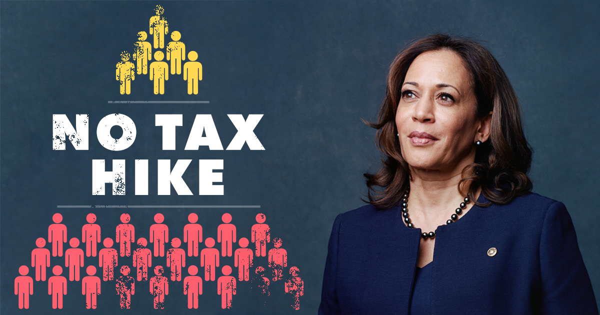 Kamala Harris standing next to human pyramid saying no to middle class tax hikes