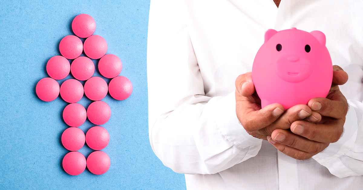 arrow made of pills pointing up next to person holding pink piggy bank; part d enrollees paying more for generic drugs