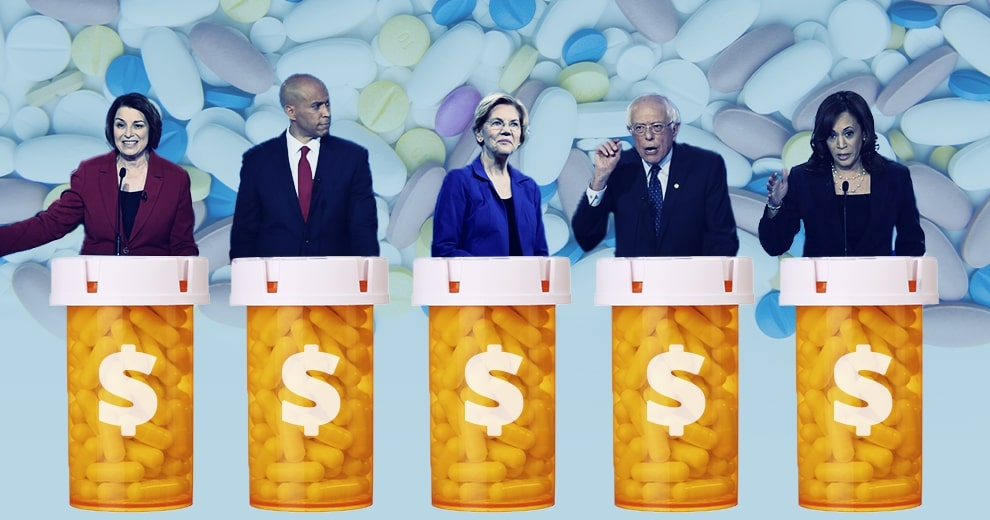 5 presidential candidates standing in front of medication bottles to address drug prices