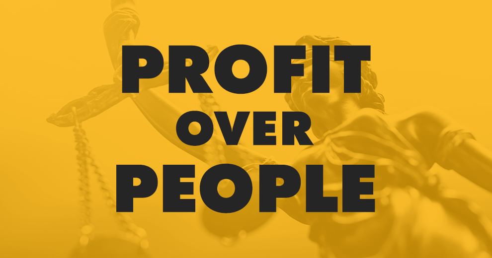 yellow background with profits over people, valeant pharmaceuticals value profit over people