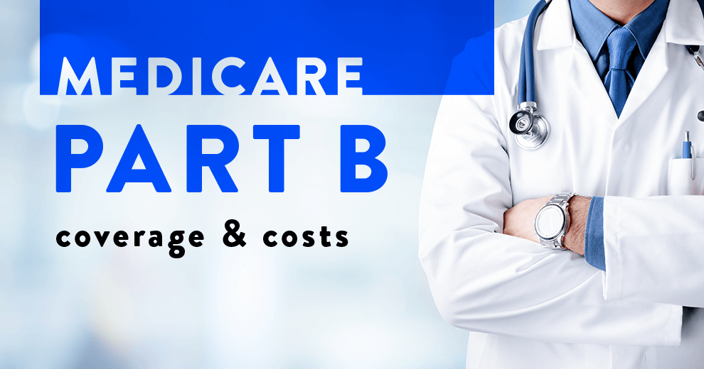 doctor crossing arms next to text reading medicare part b coverage and costs for 2020